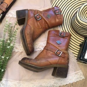 Harley-Davidson Perfectly Worn Leather Chunky Boot